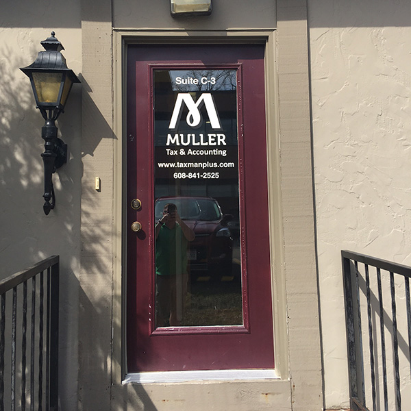 Door of the Muller Tax & Accounting Offices
